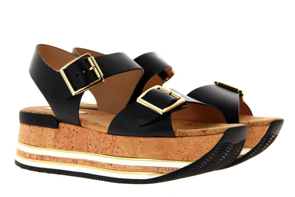 Hogan platform sandal SUGHERO PROFILI MIC MOD FIBBIA SCHWARZ