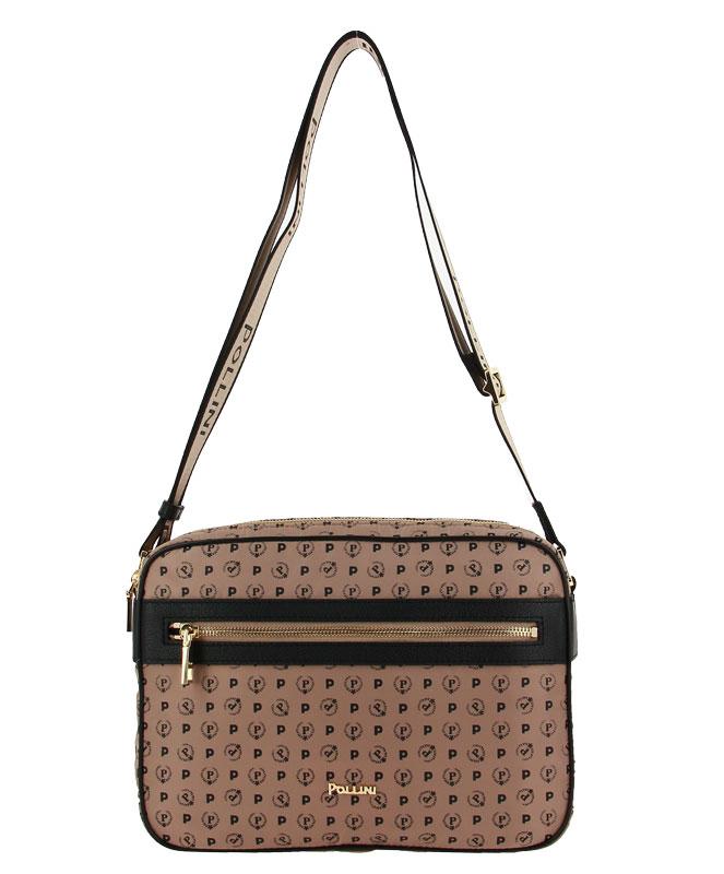 Pollini shoulder bag SOFT NYLON BEIGE VITELLO NERO