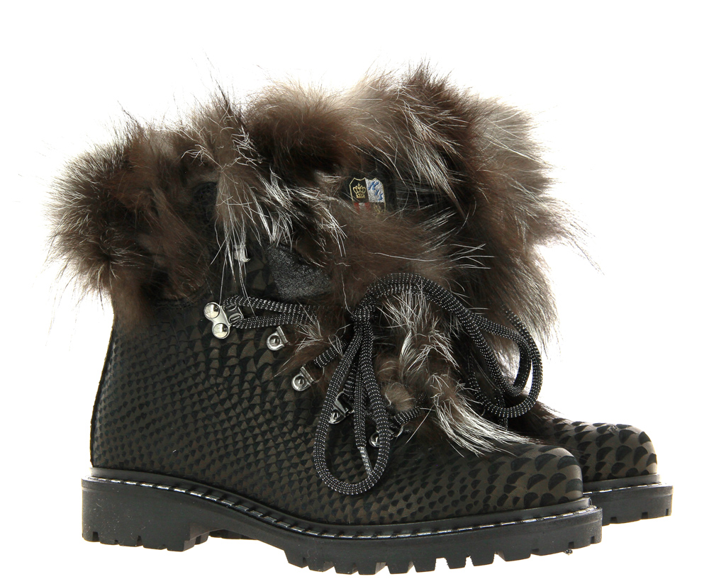 New Italia Shoes Stiefelette gefüttert REPTIL OPTIK BROWN BLACK
