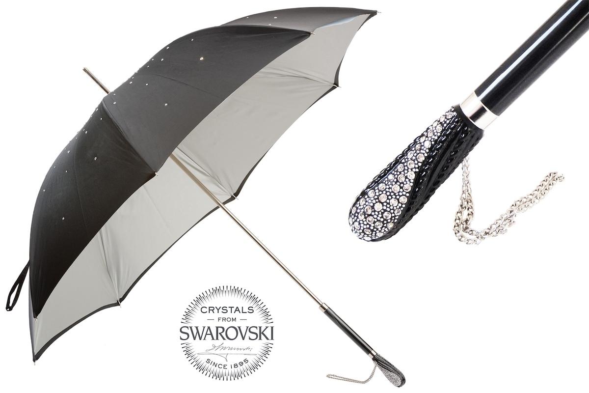 Pasotti umbrella NERO SWAROVSKI STRASS