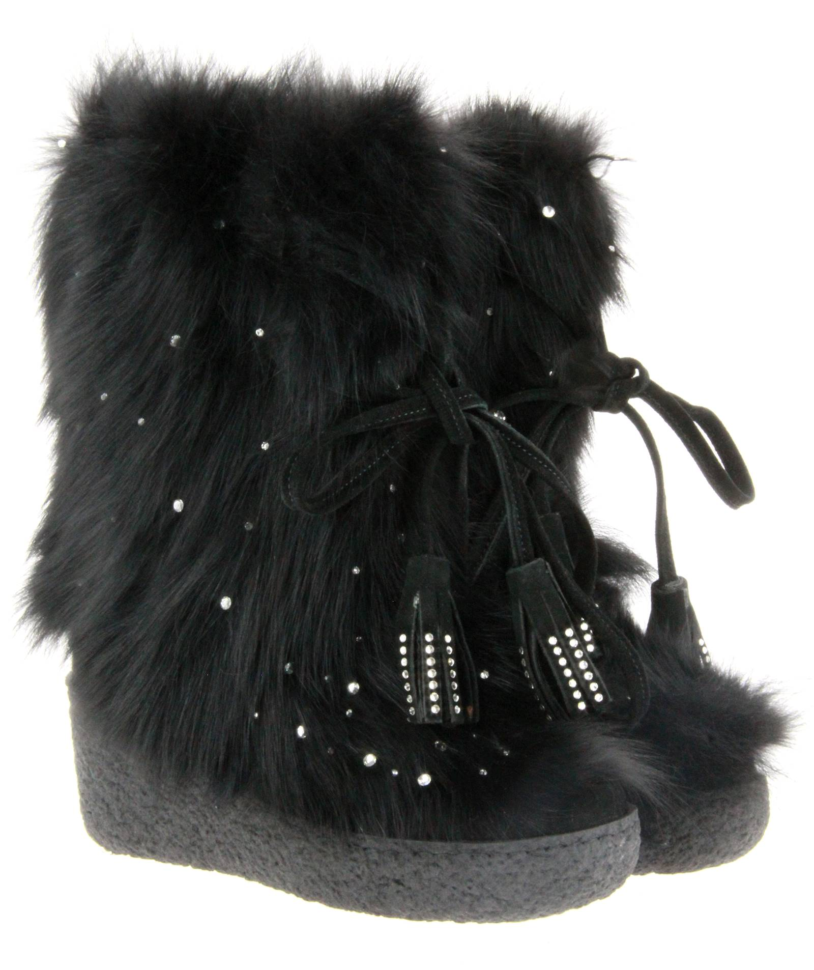 Diavolezza fur boots BLACK FOX SWAROVSKI
