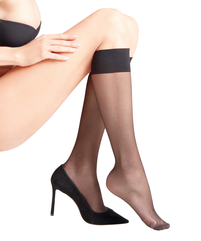FALKE silk smooth 15 DEN ladies knee socks BLACK