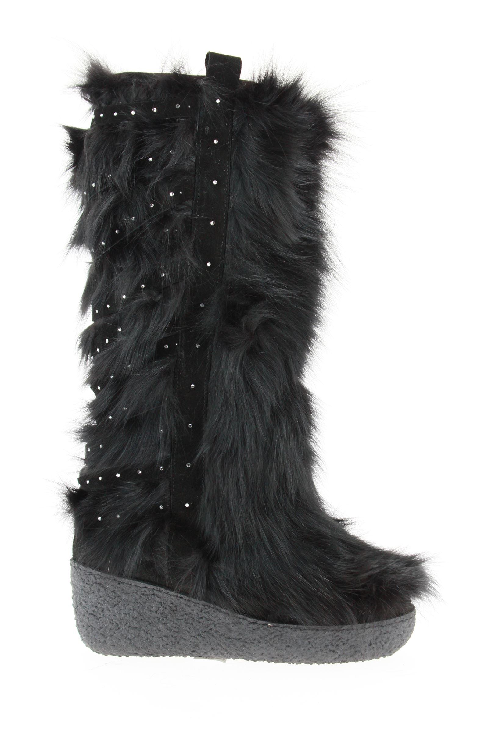 Diavolezza Fur boots BLACK FOX SWAROVSKI CRYSTAL