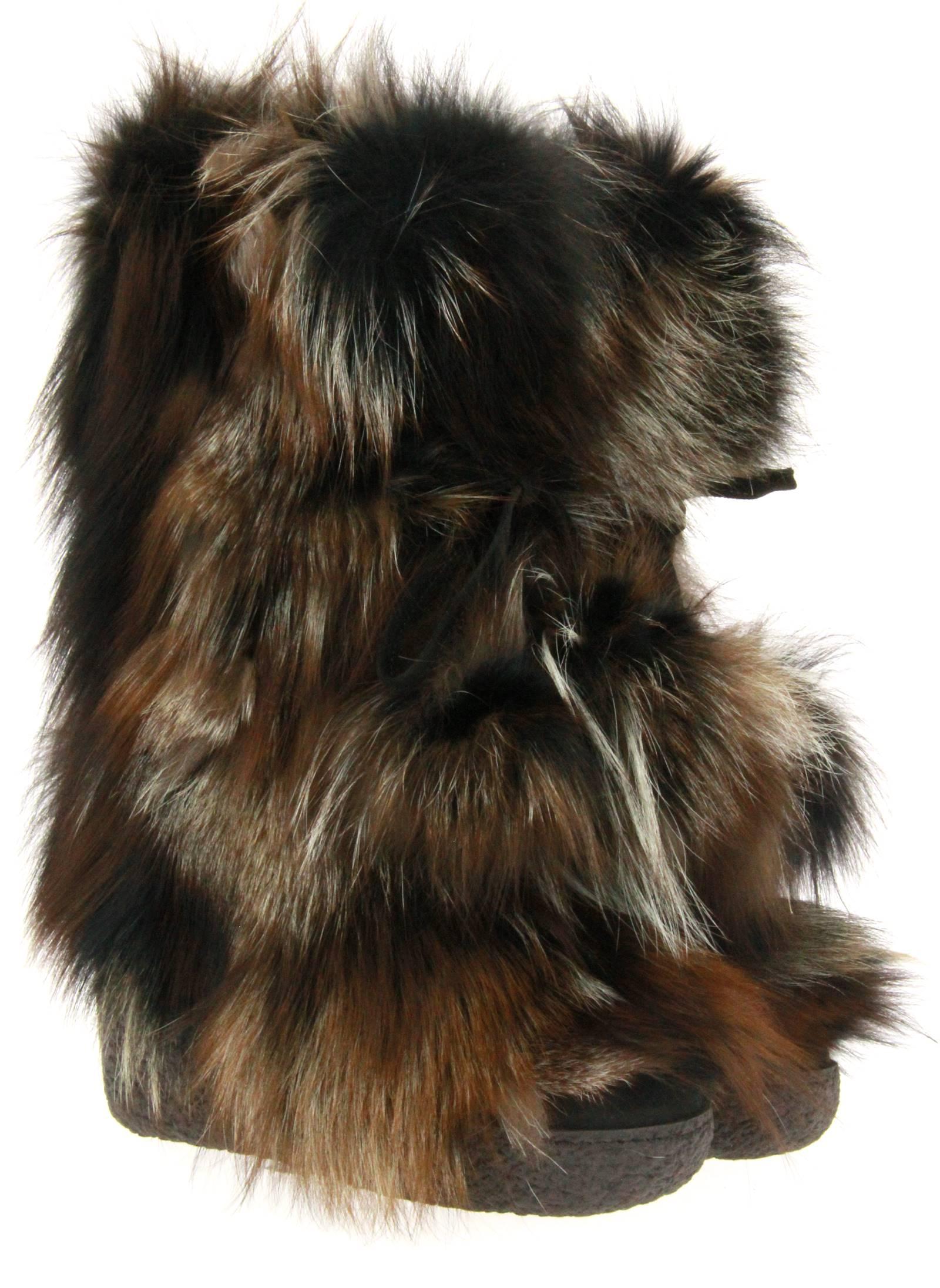 Diavolezza fur boots MIX BEIGE FOX