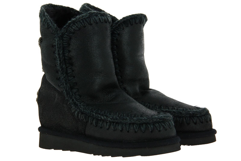MOU boots WEDGE BACK STAR PATCH CRACKED BLACK GREY