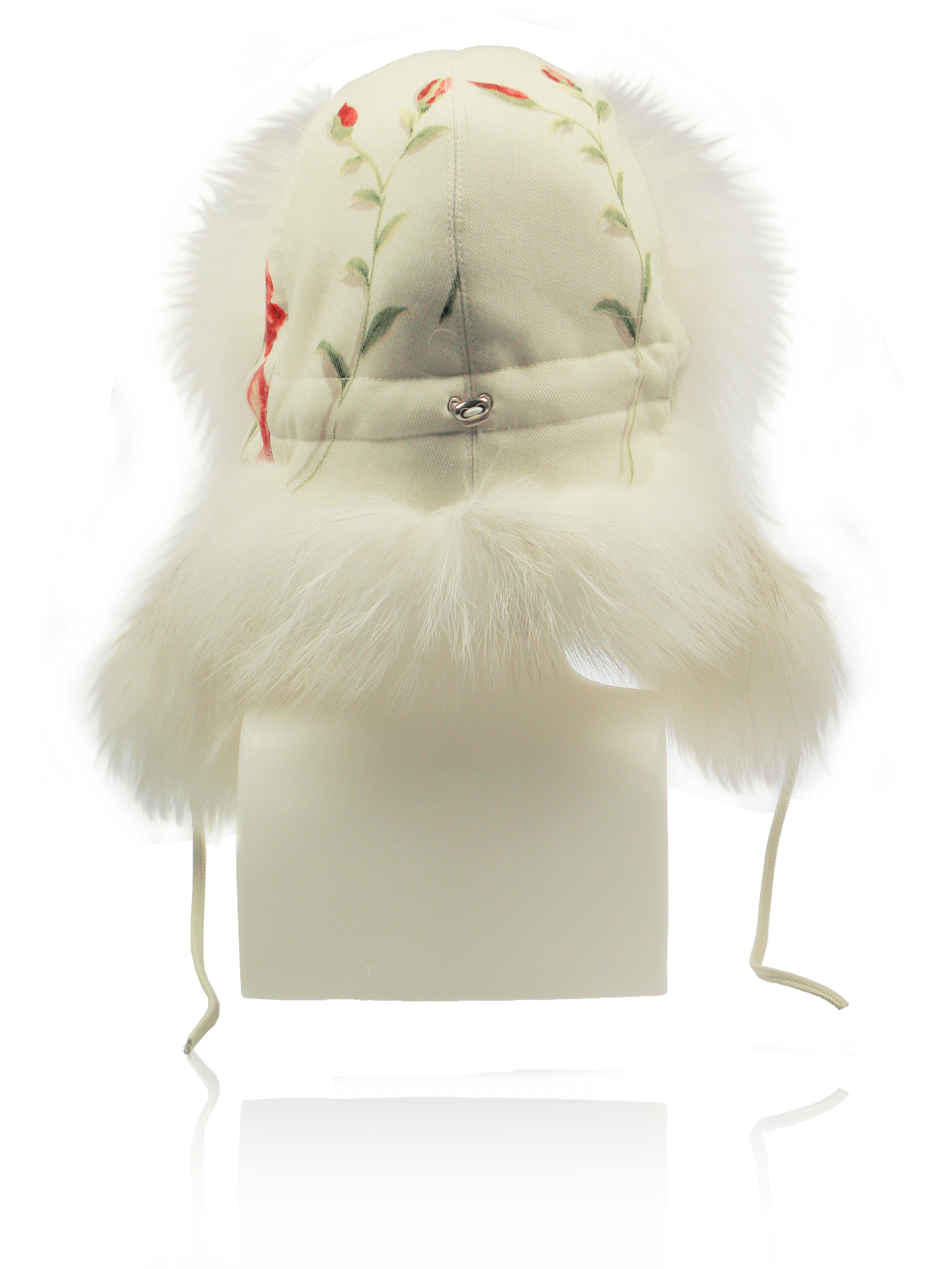FurLand Aviator Cap - USHANKA WHITE RED ROSES - Fox Fur