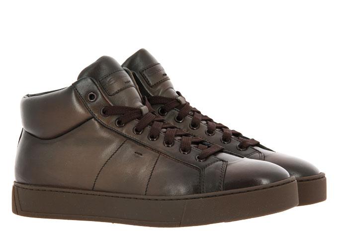 Santoni High Top sneaker NAPPA BROWN