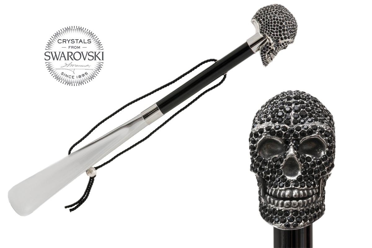 Pasotti shoehorn SKULL SWAROVSKI BLACK