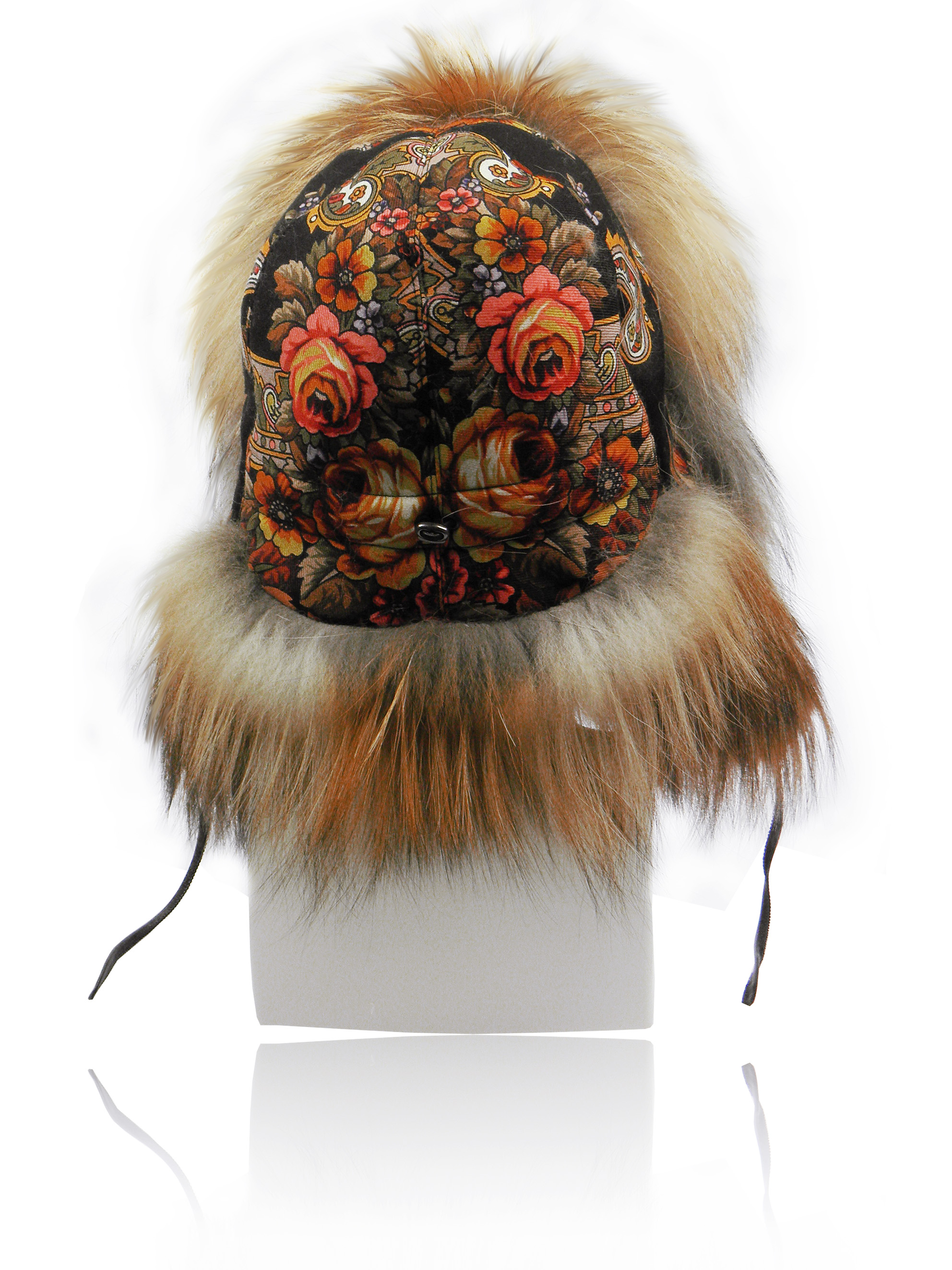 FurLand Aviator Cap - USHANKA FLOWERS - Fox Fur