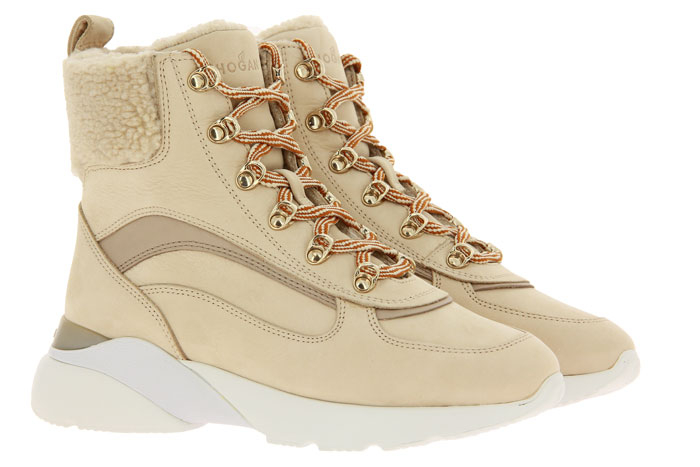 Hogan ankle boots lined ACTIVE ONE TRONCHETTO BEIGE