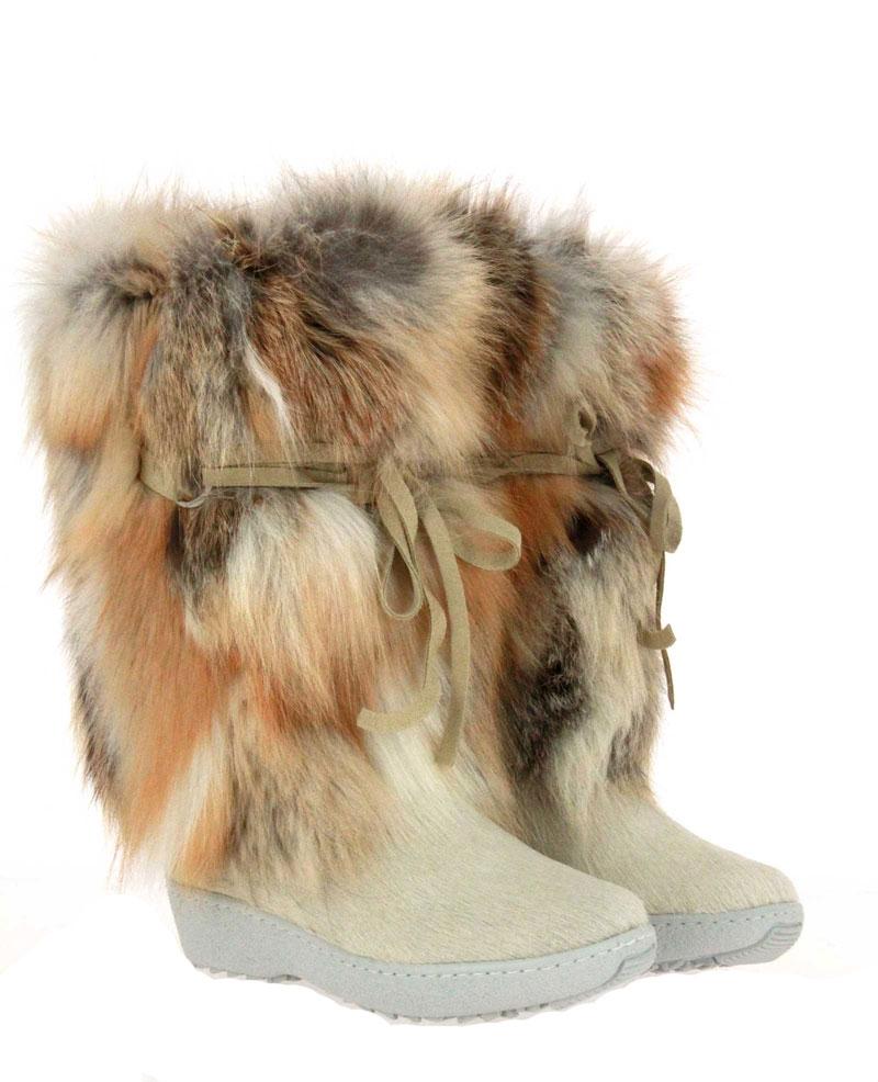Oscar Sport fur boots VOLPE BIANCO ICEBURG CHIARO
