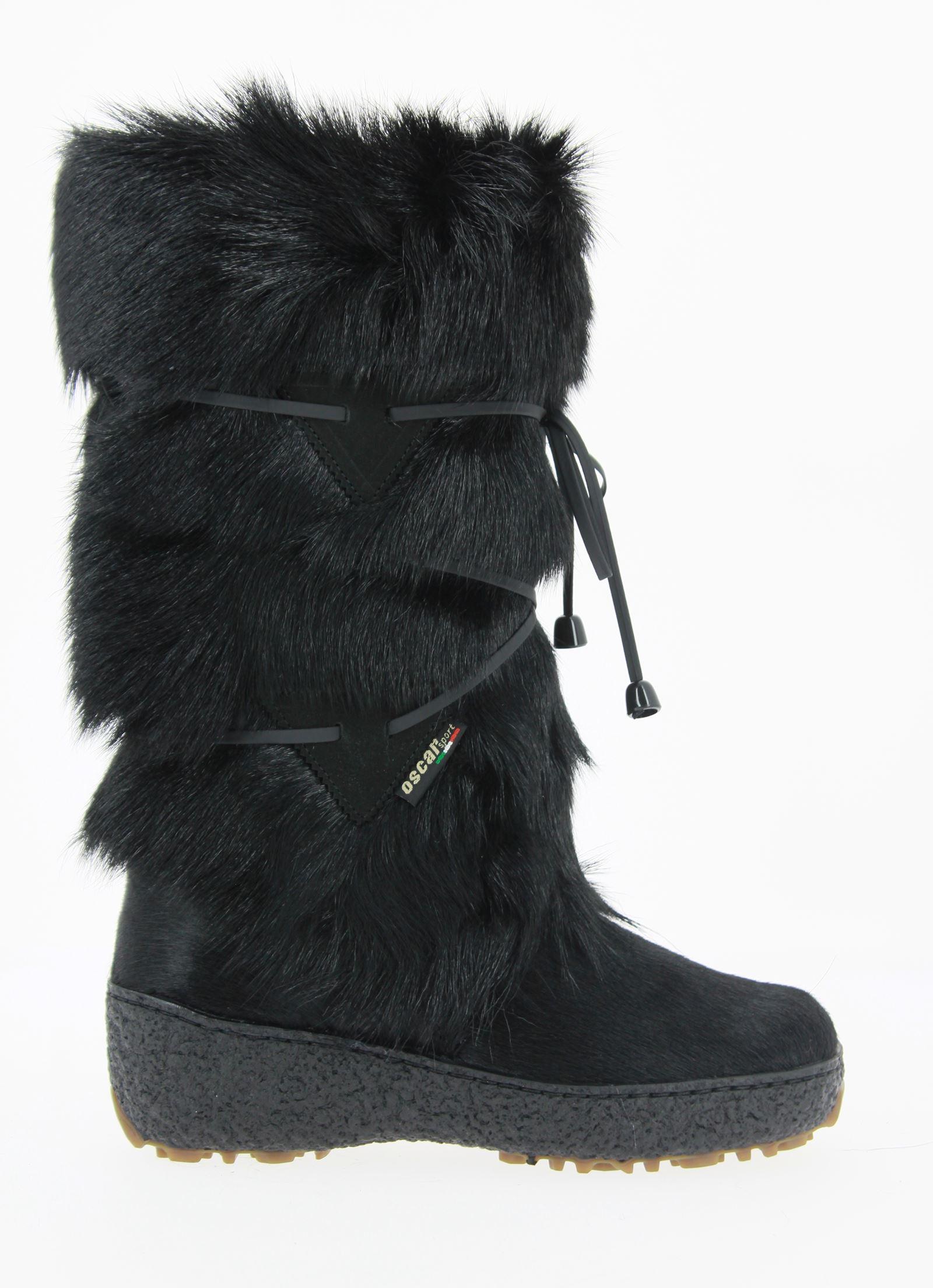 Oscar Sport fur boots GIADA NERO