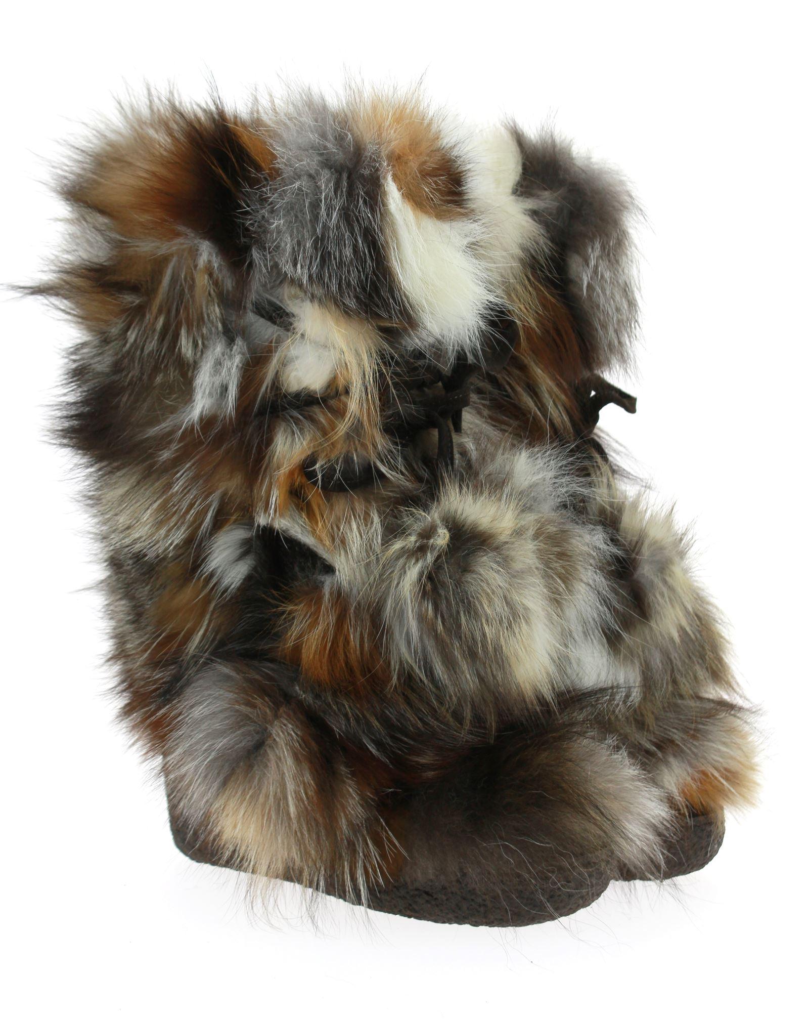 Diavolezza Fur Boots MIX BEIGE FOX POM POM Fox Fur