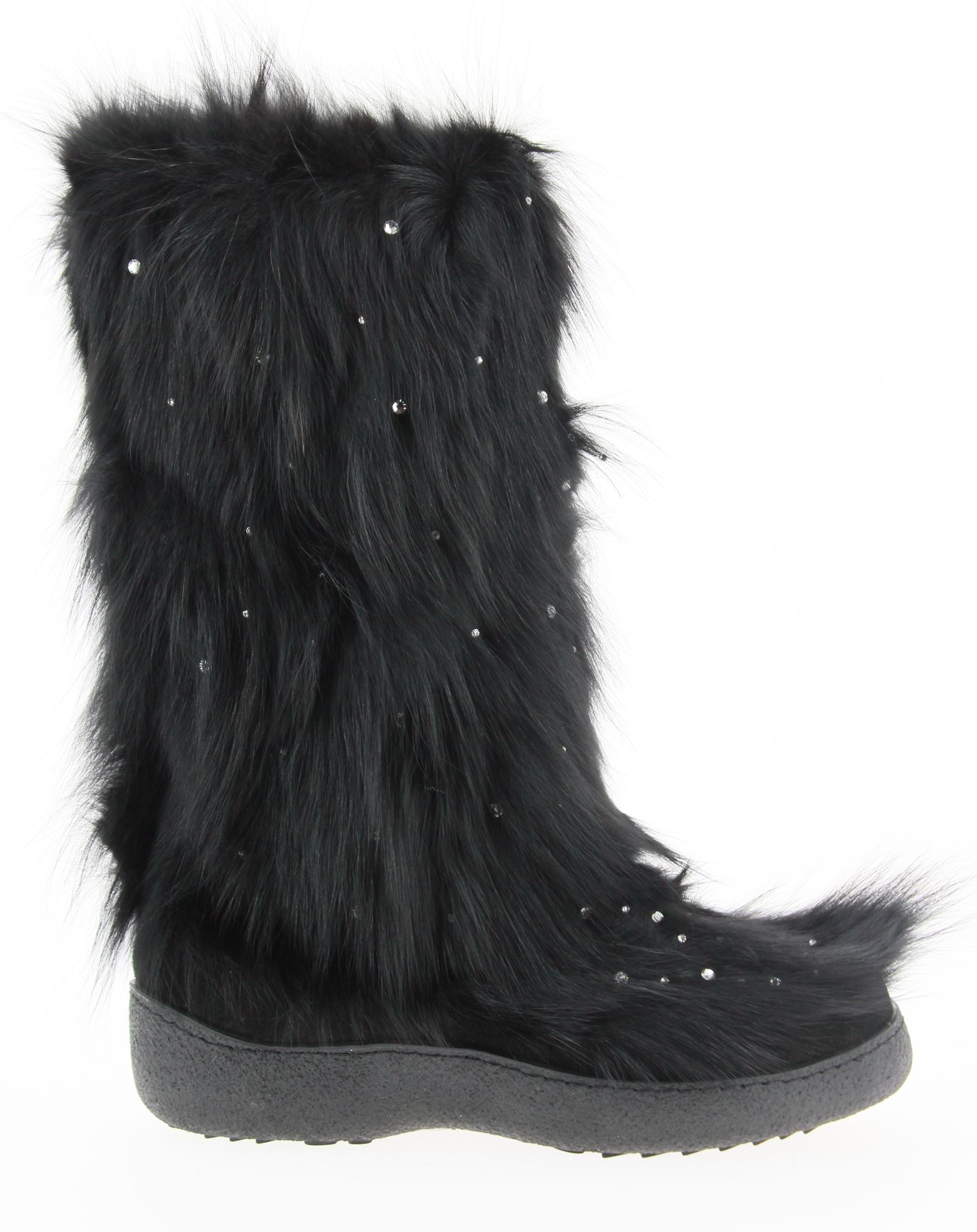 Diavolezza fur boots FOX BLACK SWAROVSKI
