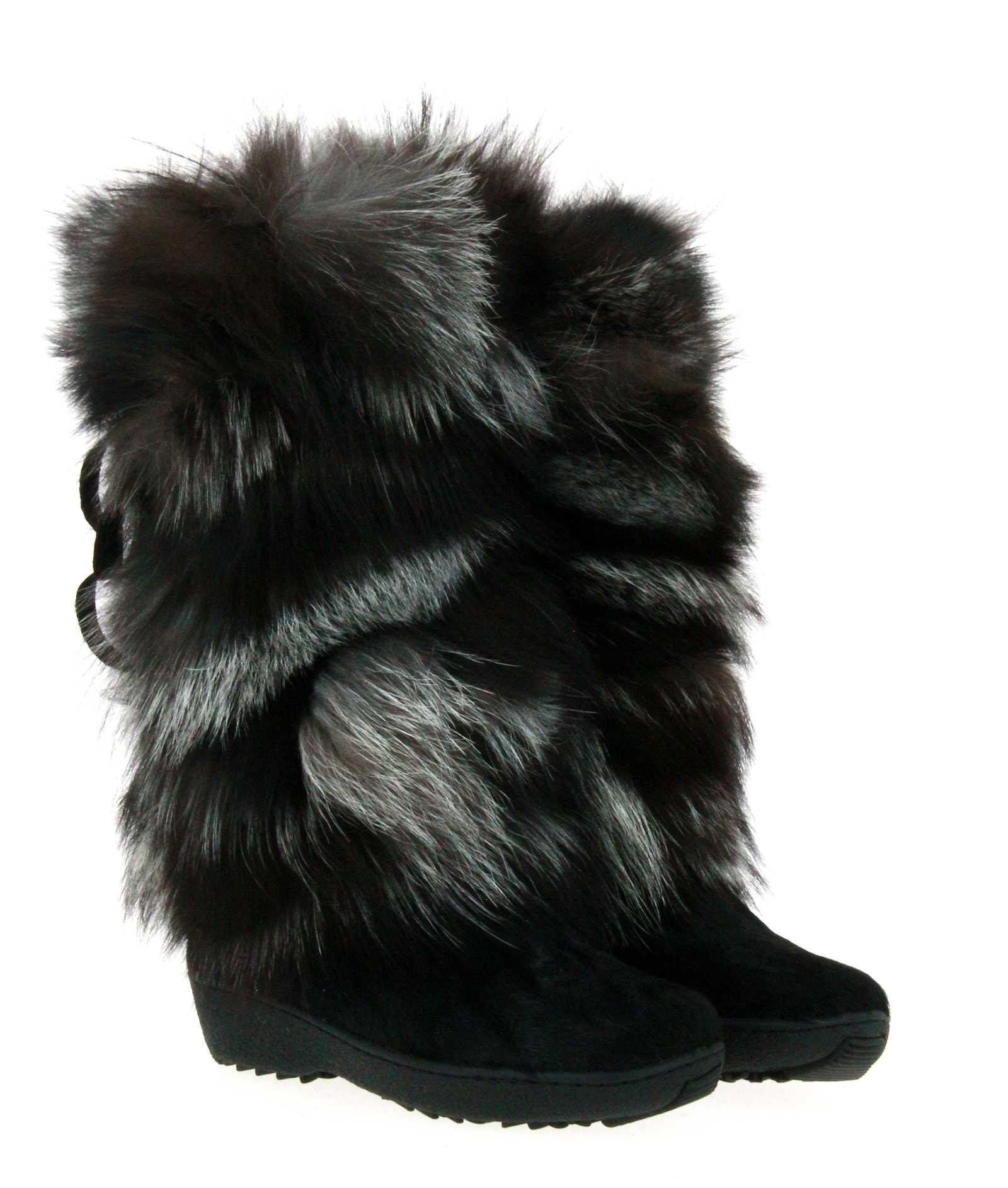 Oscar Sport fur boots KIM NERO-SILVER