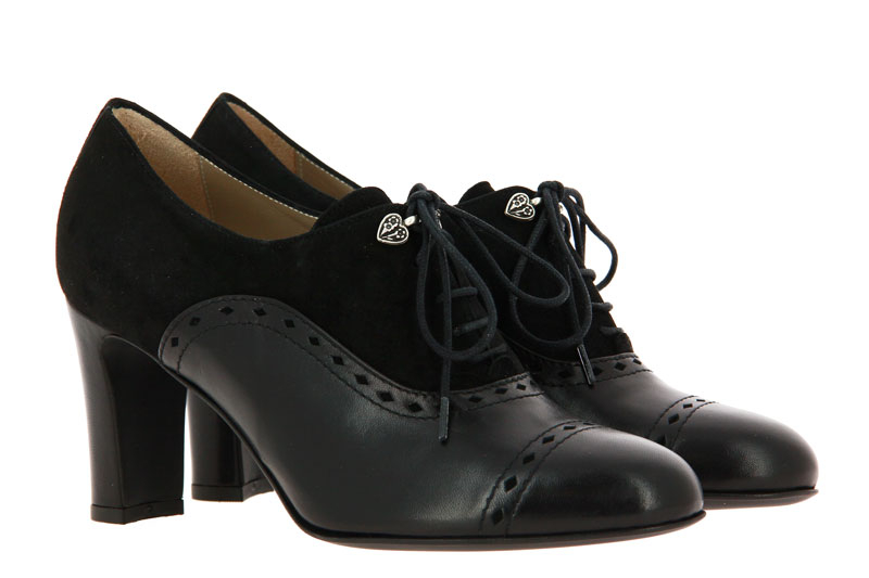 Dirndl + Bua lace-up pumps ZIEGENNAPPA -VELOUR SCHWARZ