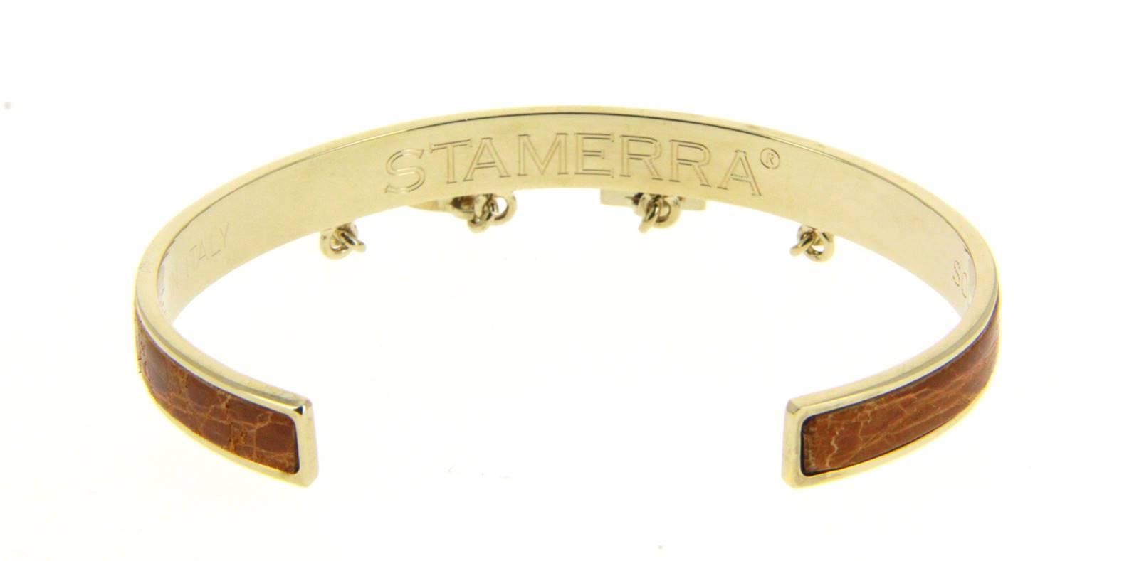 Stamerra bracelet VERO GENUINE CROCO GOLD MIELE