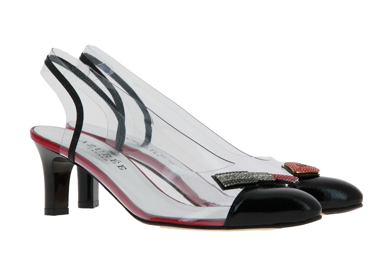 Azuree Cannes sling pumps LINGA VERNIS NOIR