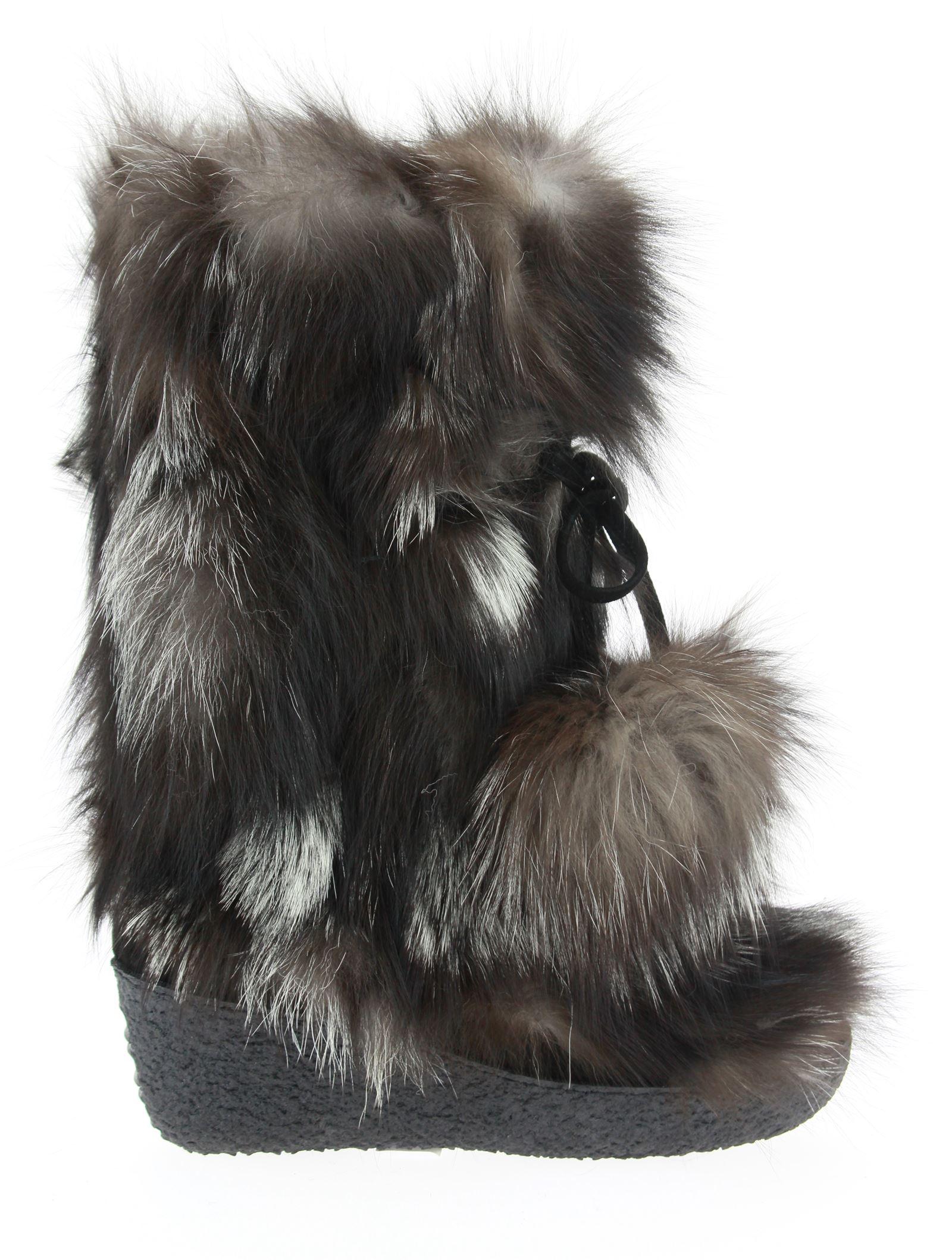 Diavolezza Fur boots SILVER FOX POM POM Fox Fur