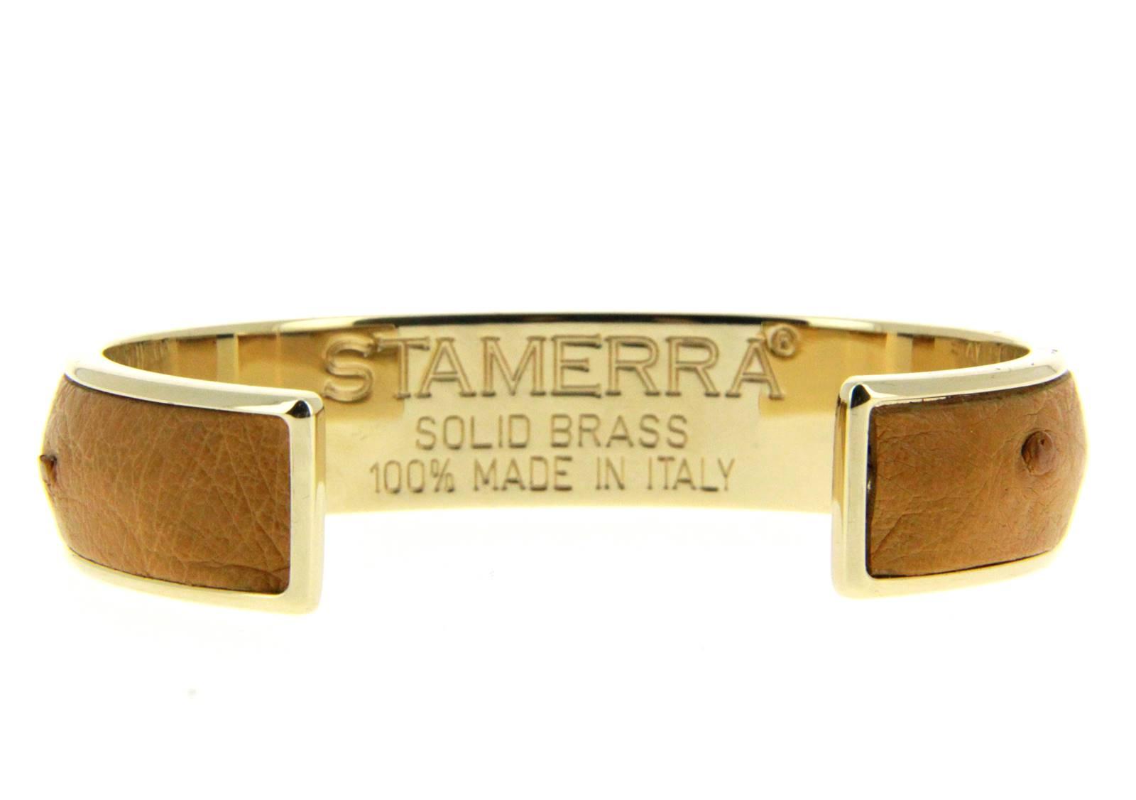Stamerra bracelet VERO GENUINE OSTRICH GOLD TABACCO