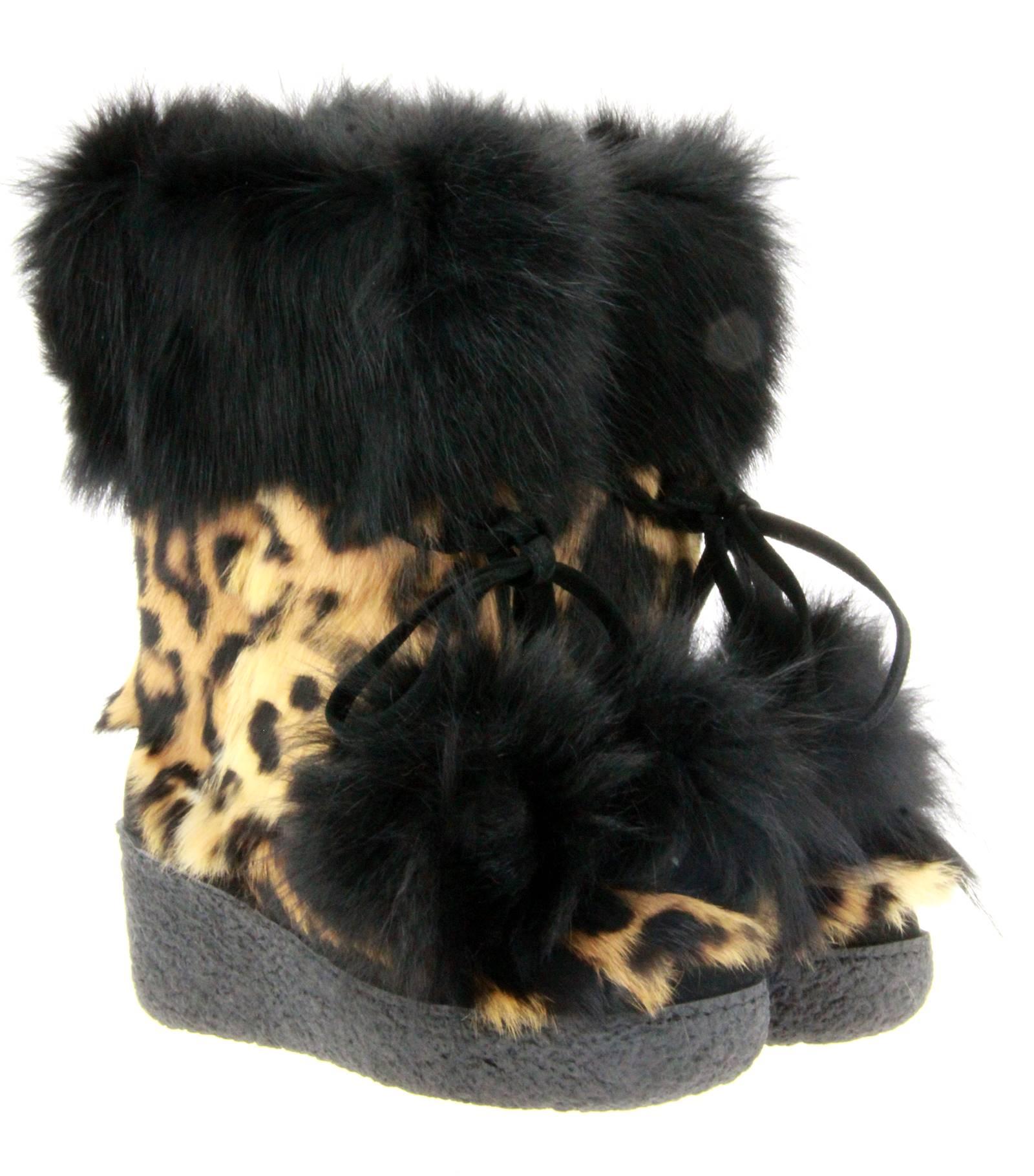 Diavolezza fur boots LAPIN LEOPARDO