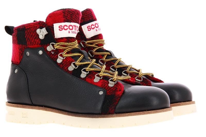 Scotch & Soda ankle boots LEVANT LEATHER BLACK RED