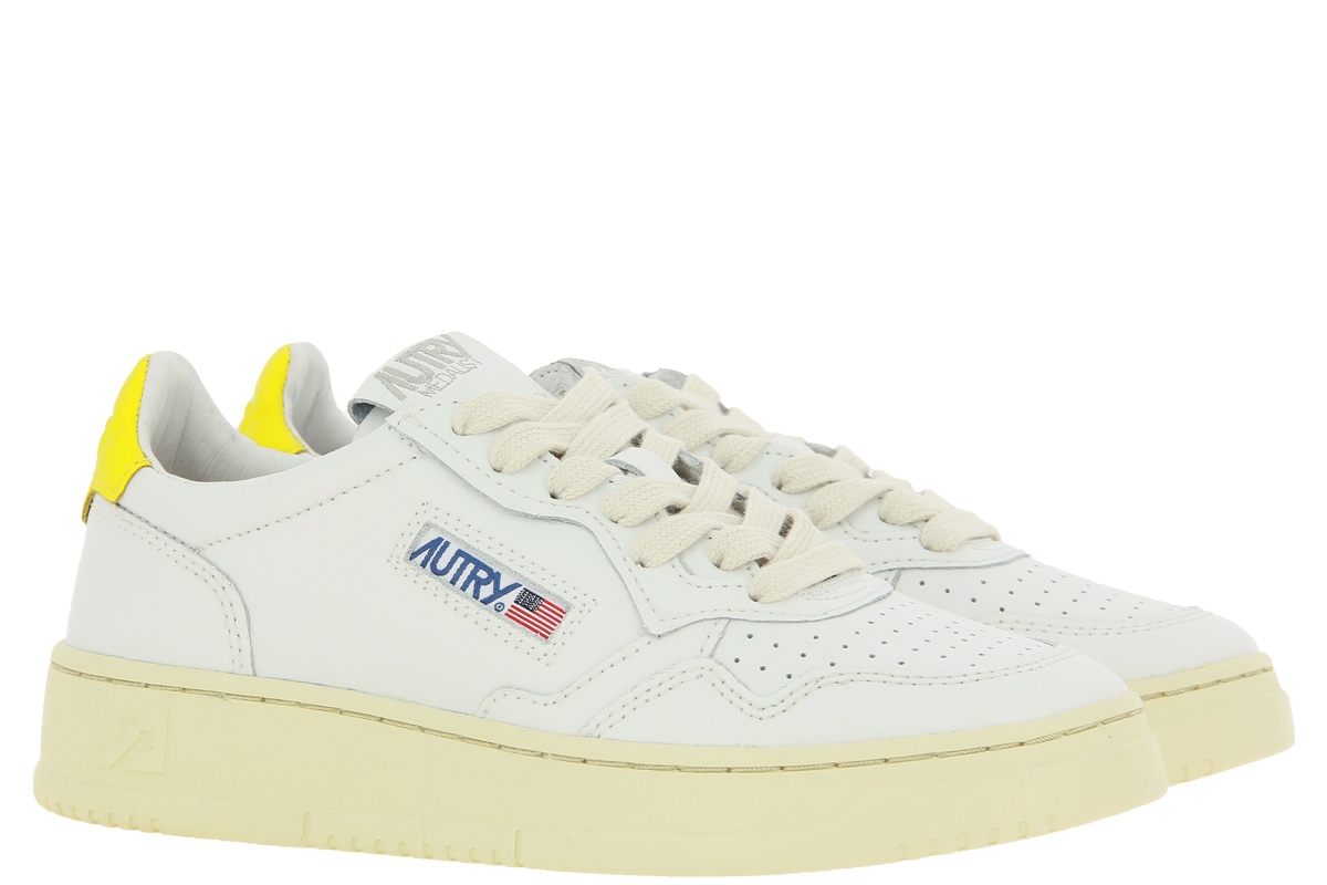 Autry sneaker LOW WOMAN LEATHER WHITE YELLOW