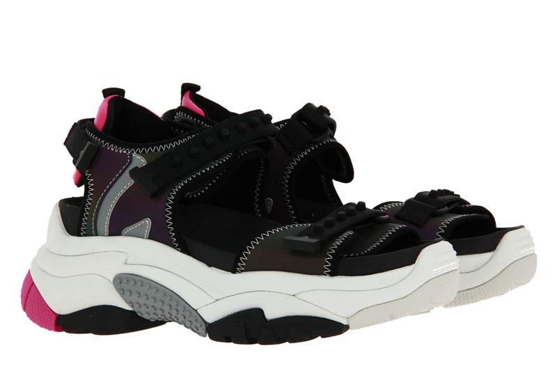ASH sandals ADAPT STROBE LYCRA RAINBOW BLACK SILVER