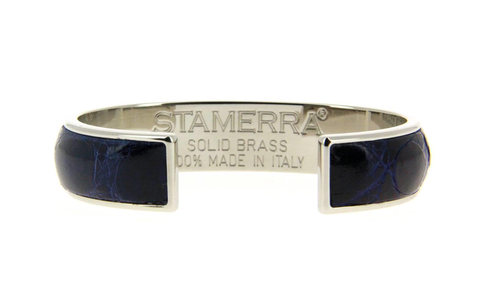 Stamerra bracelet VERO GENUINE CROCO MEDON SILBER BLU