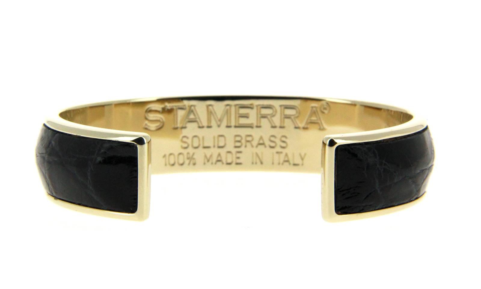 Stamerra bracelet VERO GENUINE CROCO MEDON GOLD NERO