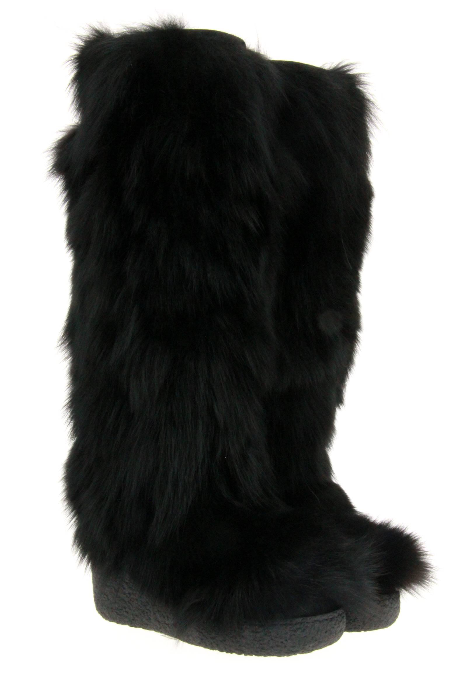 Diavolezza fur boots BLACK FOX