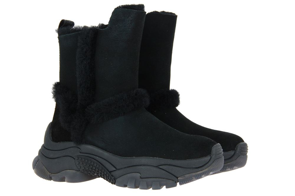 Ash ankle boots lined ALPES SHEARLING STRAIGHT BLACK