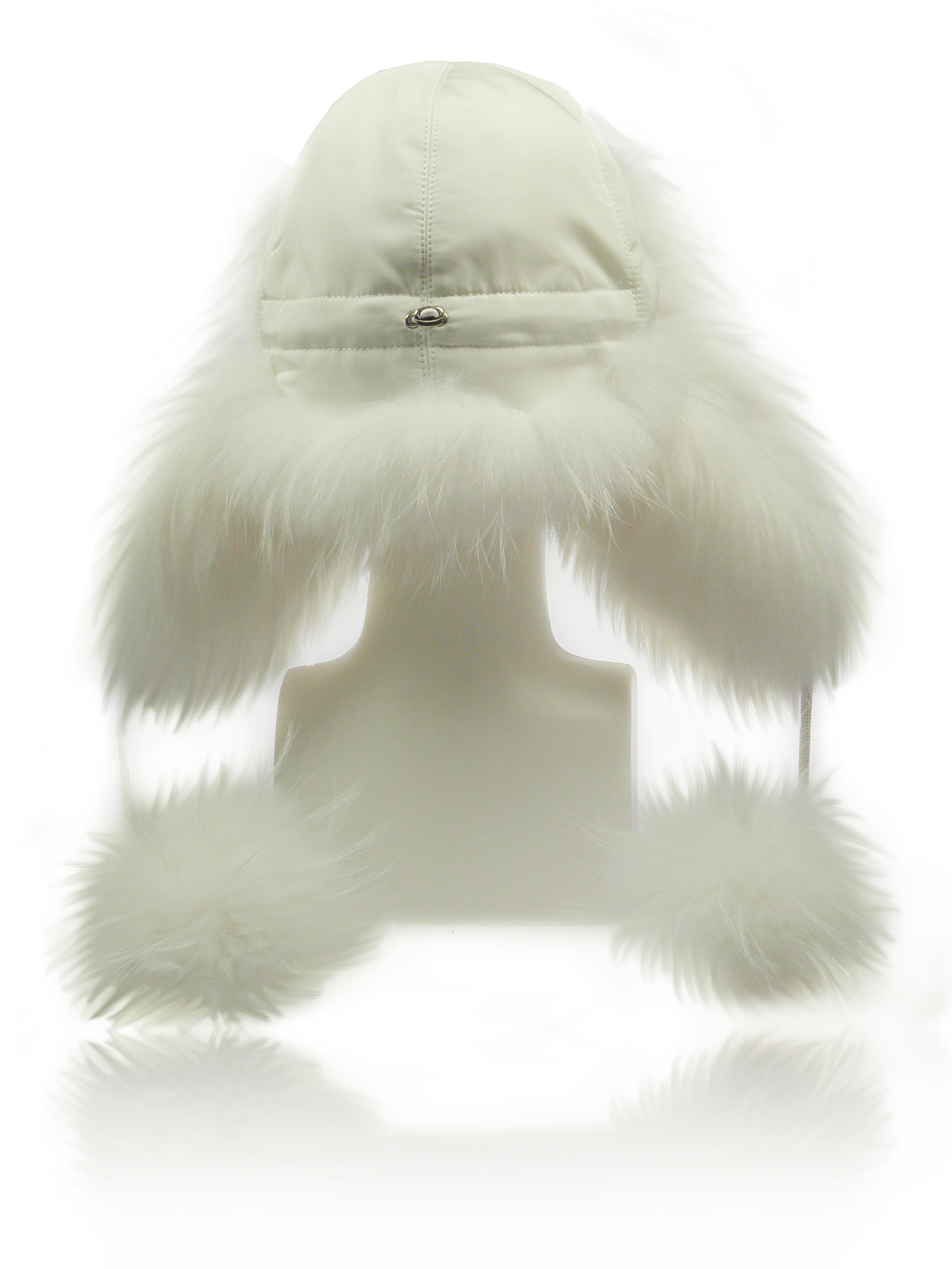 FurLand Aviator Cap - USHANKA WHITE RACCOON - with Pom Pom's