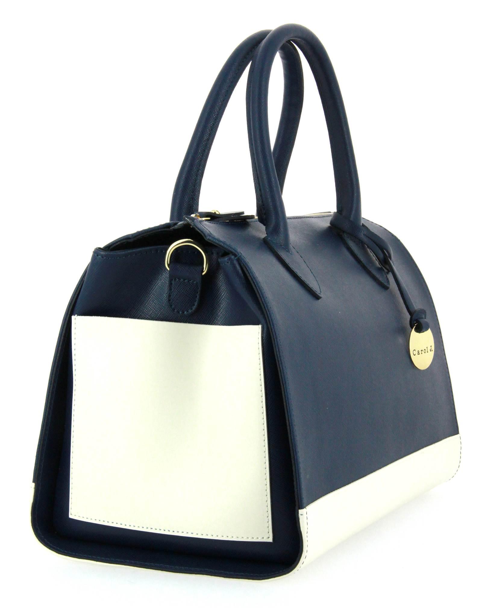 Carol J. handbag SAFFIANO BLUE BIANCO