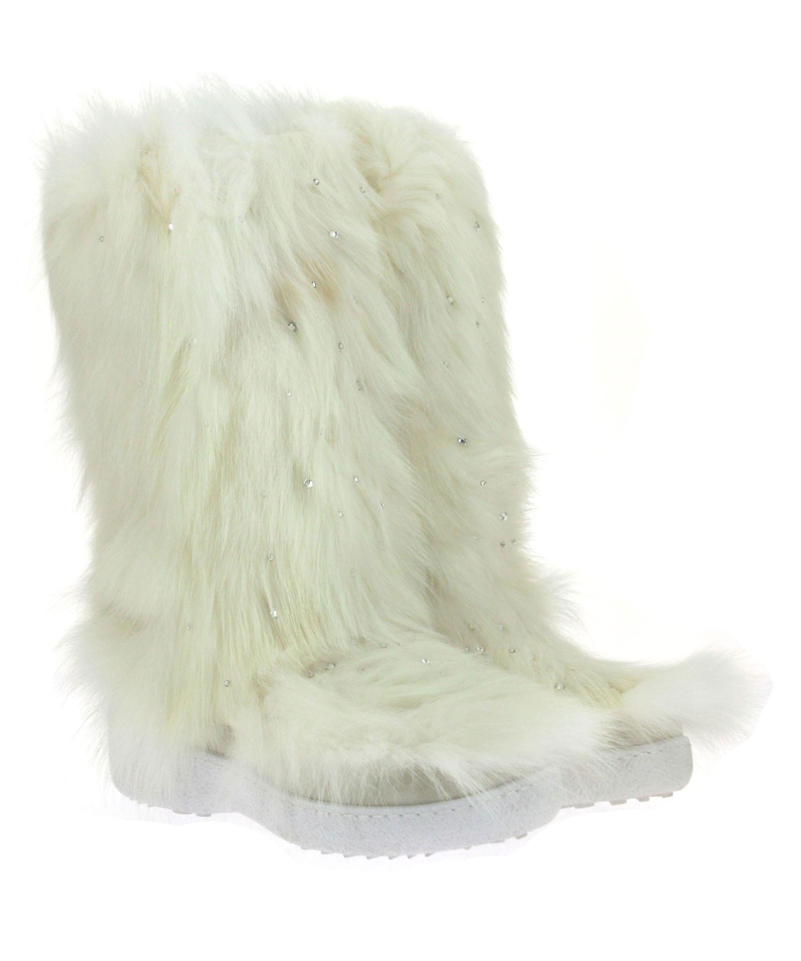 Diavolezza fur boots FOX BIANCO SWAROVSKI
