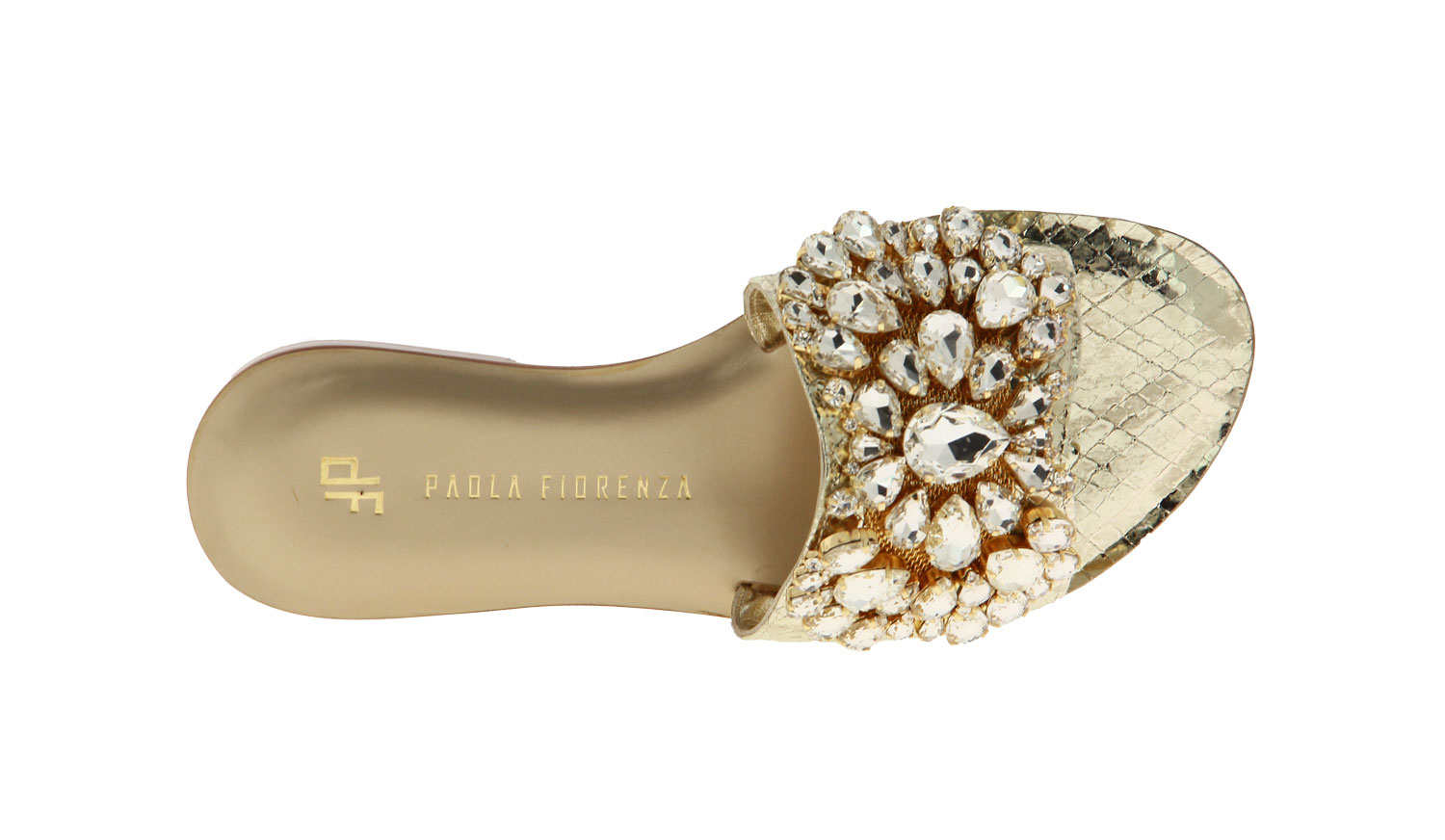Paola Fiorenza mules CRYSTAL BIANCO GOLD