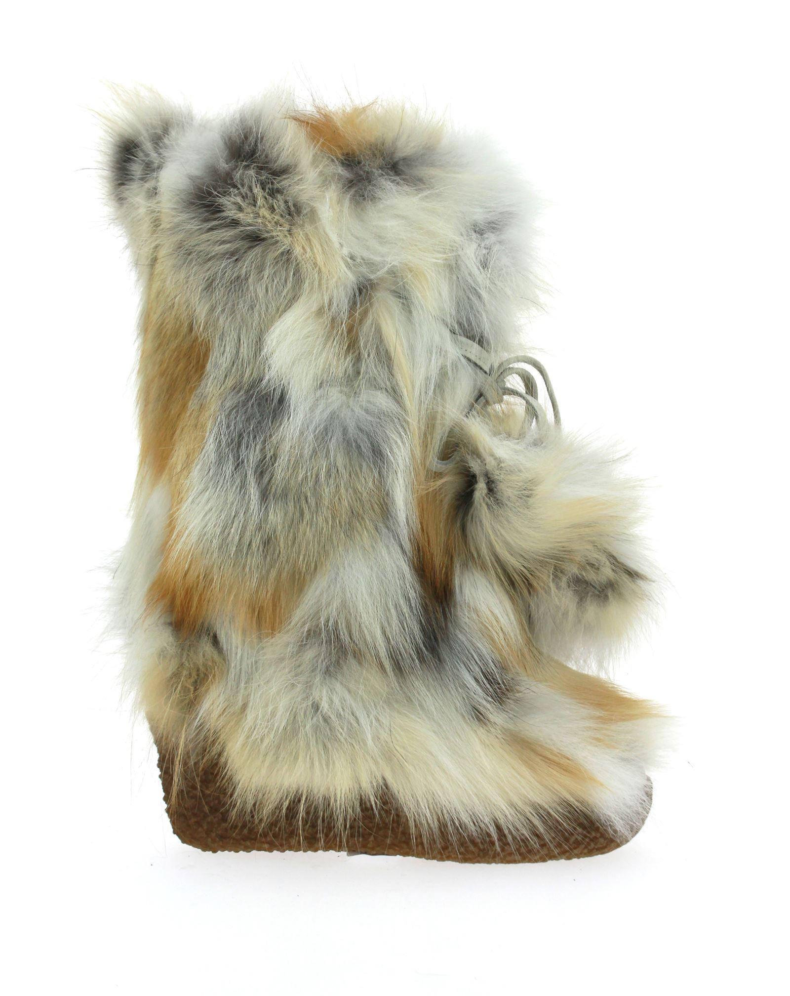 Diavolezza fur boots GOLD FOX POM POM