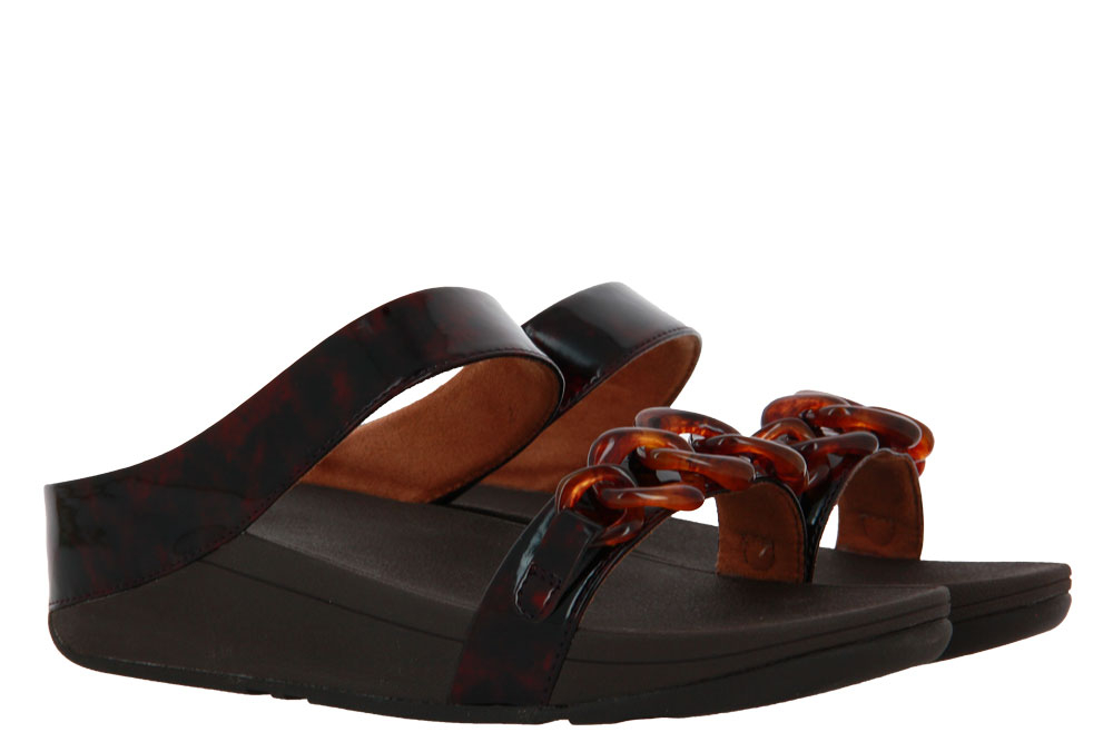 Fitflop mules FINO TORTOISESHELL CHAIN SLIDE CHOCOLATE BROWN
