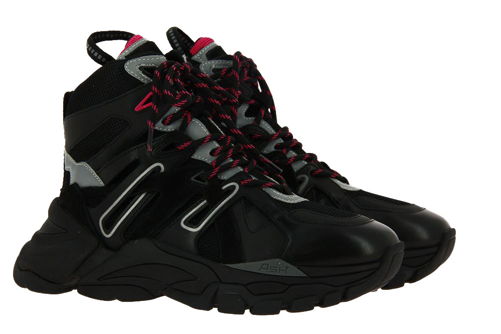 Ash High Top sneaker FICTION NAPPA CALF BLACK SILVER MAGENTA