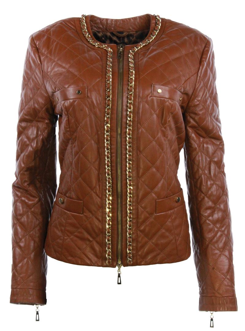 Christine Becker quilted jacket GLORIA LAMMNAPPA COGNAC