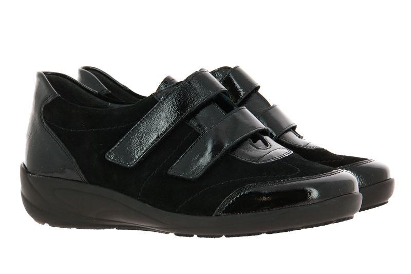 Semler Velcro shoes MAXI KNAUTSCHLACK KALBVELOUR SCHWARZ