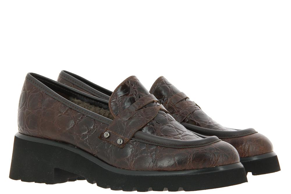 Brunate slipper lined PEMBI KROKO CHOCO NAPPA MORO