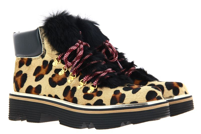Pollini ankle boots PONY LEOPARD LAPIN NERO