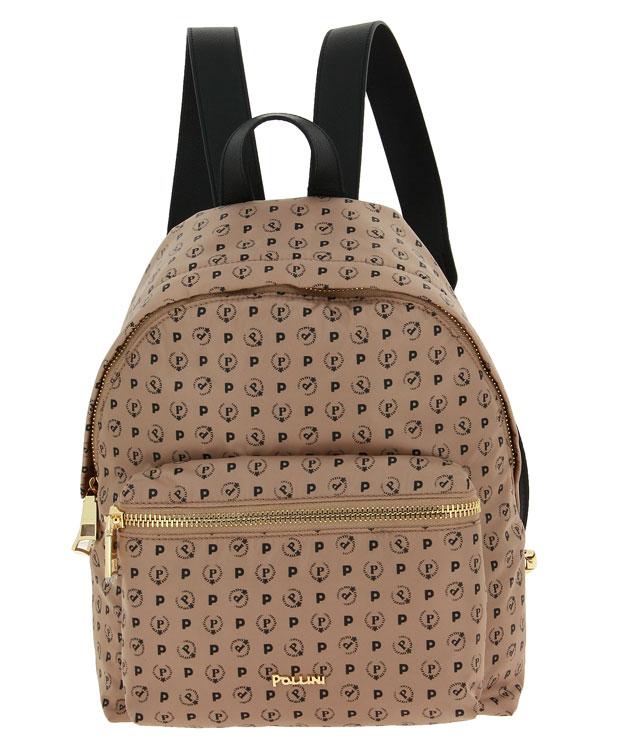 Pollini backpack BORSA HERITAGE SOFT NYLON BEIGE VITELLO NERO