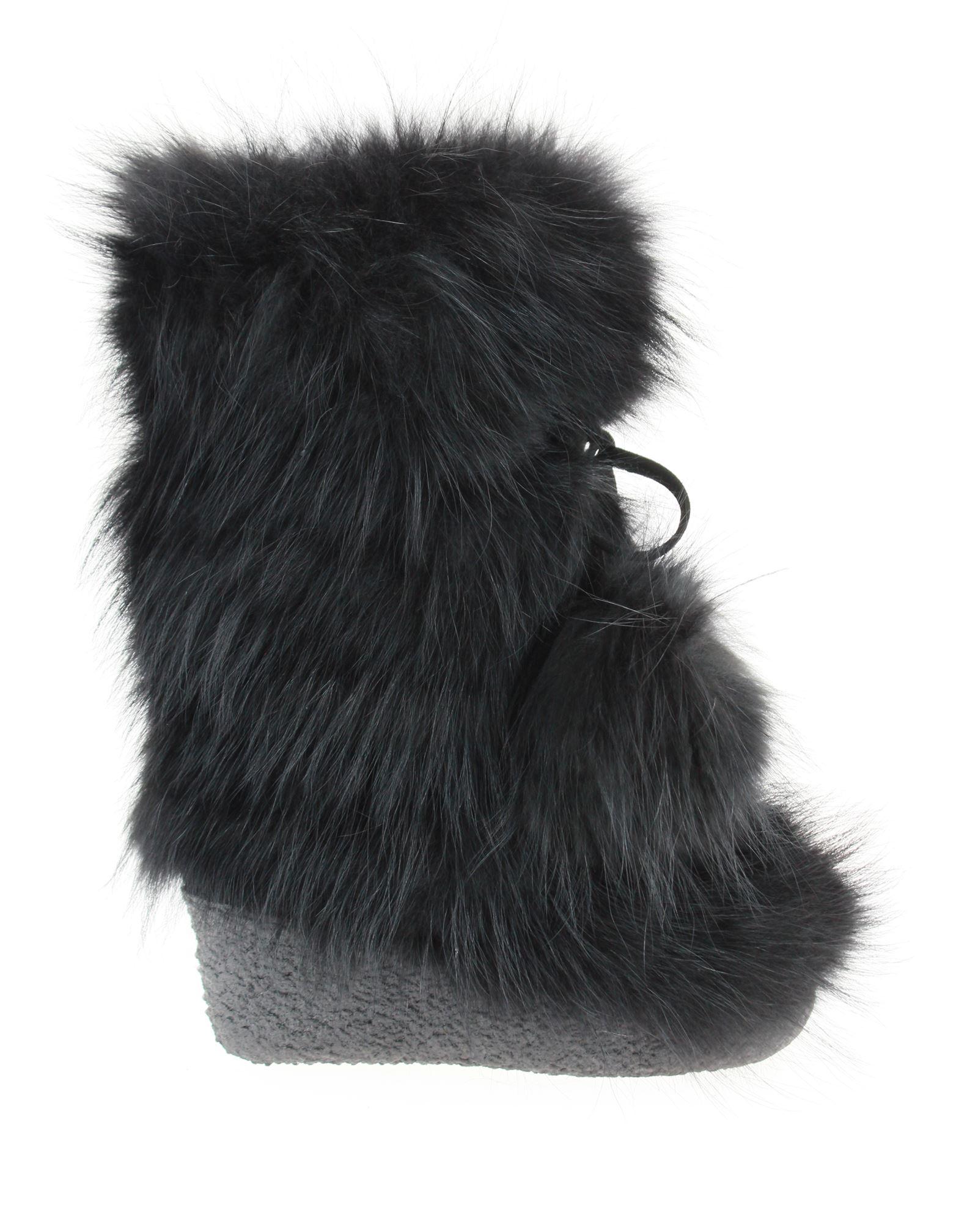 Diavolezza fur boots NEW YORK FOX NERO