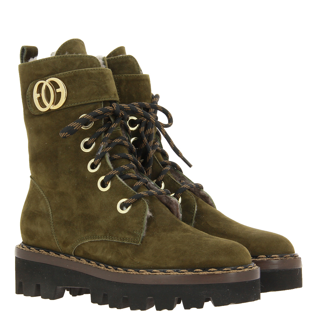 Luca Grossi ankle boots lined CAMOSCIO MILITARY